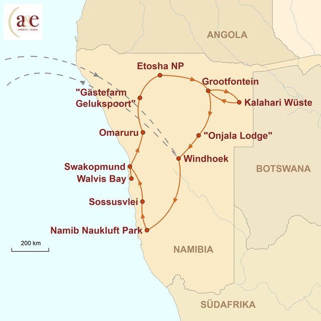 Reiseroute unserer Namibia Reise Hotel- und Lodgetour
