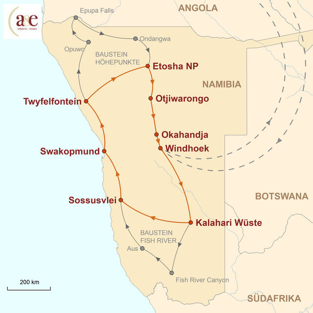 Reiseroute unserer Namibia Reise Namibia intensiv