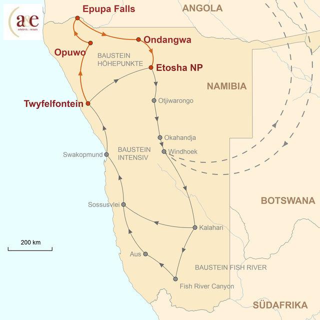 Reiseroute unserer Namibia Reise Kulturelle Höhepunkte