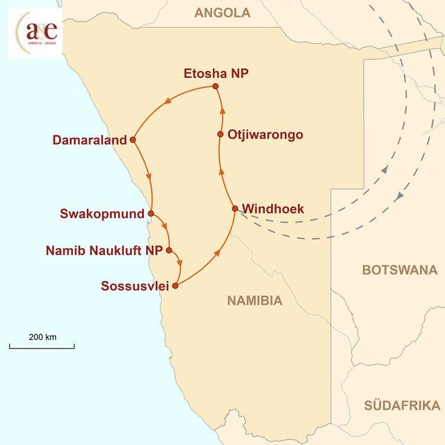 Reiseroute unserer Namibia Reise Unter Namibias Sternenhimmel