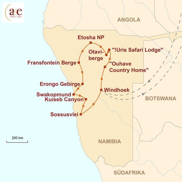 Reiseroute unserer Namibia Rundreise Zu Fuß ins Abenteuer