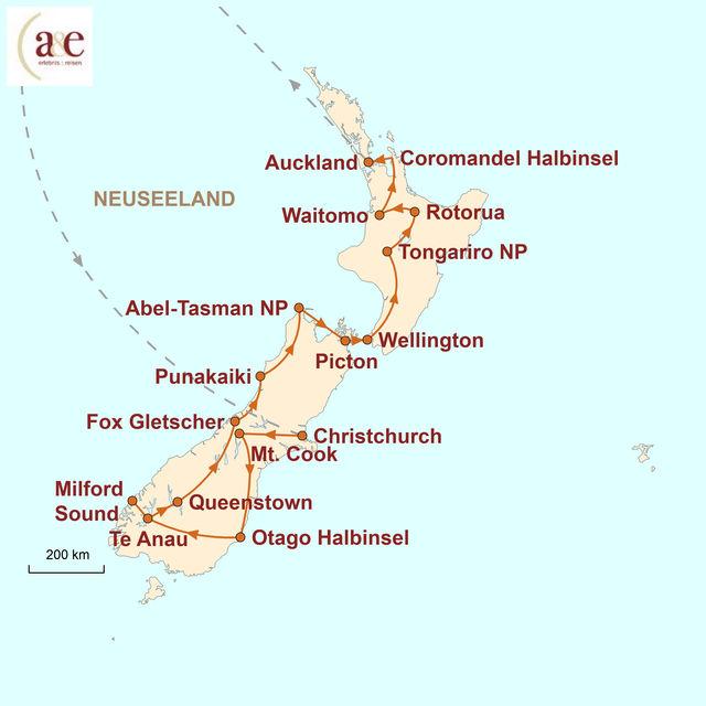 Reiseroute unserer Neuseeland Reise Am schönsten Ende der Welt (Campingtour)
