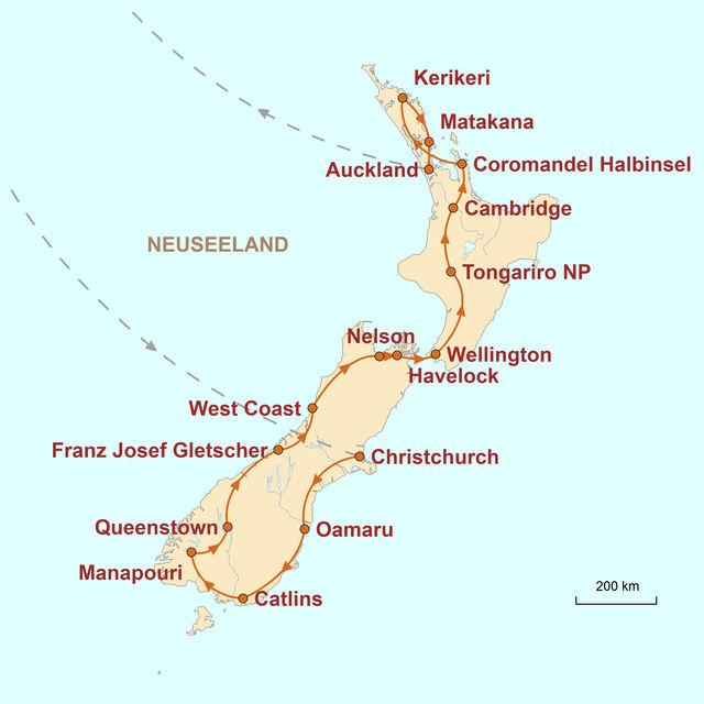 Reiseroute unserer Neuseeland Reise Aotearoa – Familienabenteuer in Neuseeland