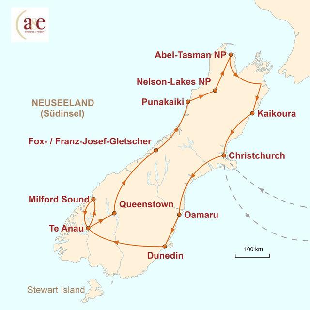 Reiseroute unserer Neuseeland Reise Der wilde Süden