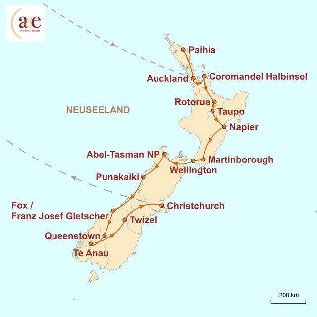 Reiseroute unserer Neuseeland Reise Faszination Neuseeland individuell erleben