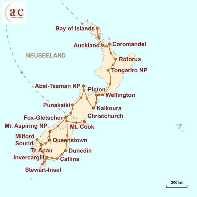 Reiseroute unserer Neuseeland Reise Heimat der Maoris