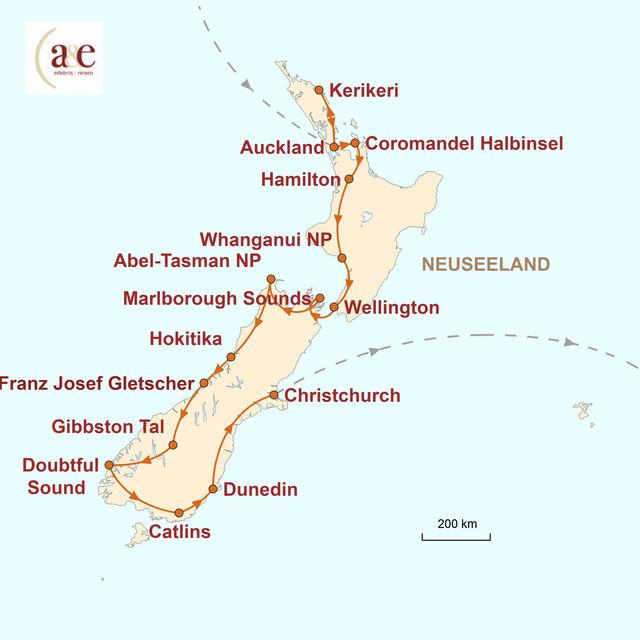 Reiseroute unserer Neuseeland Reise Komfort trifft Abenteuer: Die besondere Reise