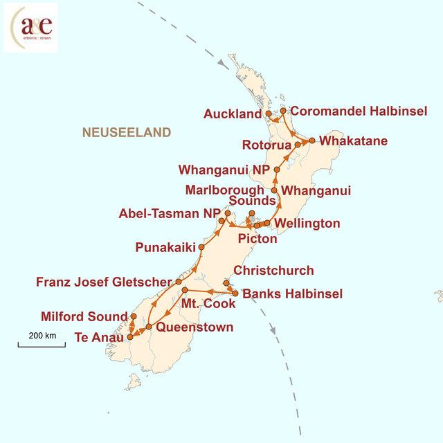 Reiseroute unserer Neuseeland Reise Naturwunder erleben