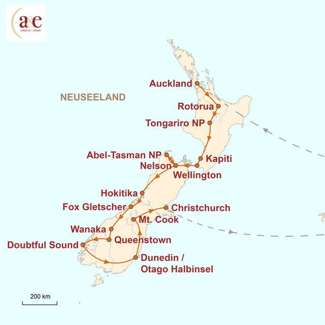 Reiseroute unserer Neuseeland Reise Zu Gast bei den Kiwis