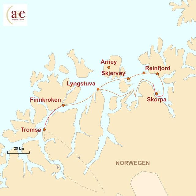 Reiseroute unserer Norwegen Reise Himmelslichter und Ozeanriesen
