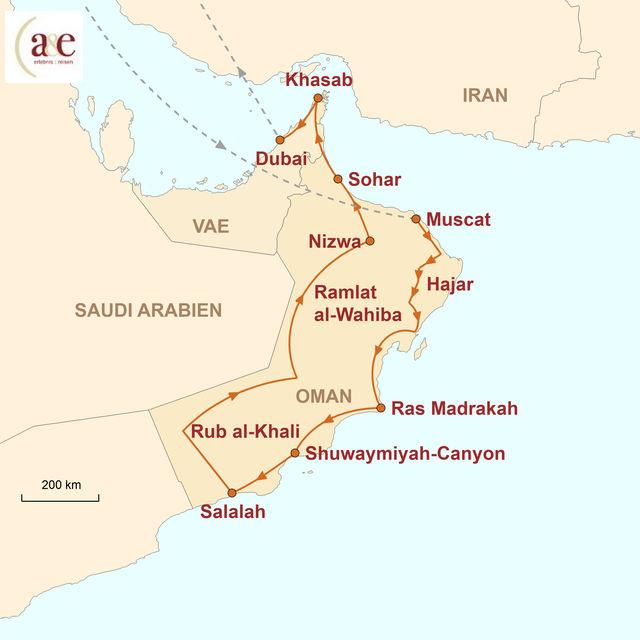 Reiseroute unserer Oman Reise Dhofar & Musandam