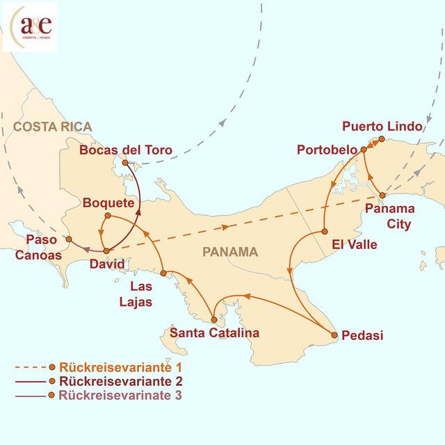 Reiseroute unserer Panama Reise Viva Panama
