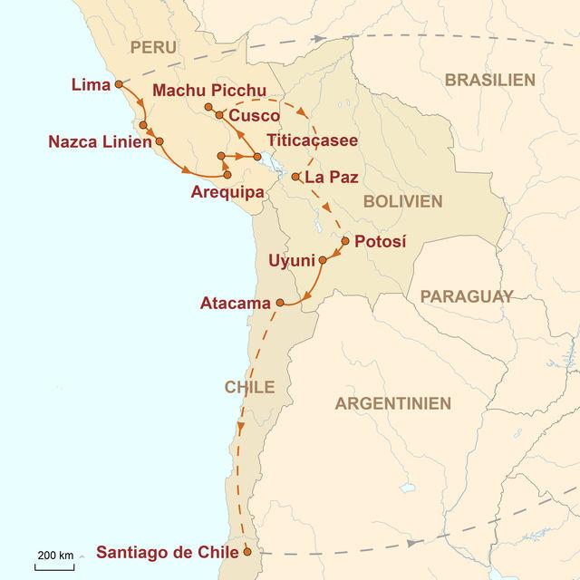 Reiseroute unserer Peru Reise Auf den legendären Pfaden der Inka