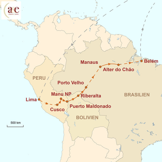 Reiseroute unserer Peru Bolivien Brasilien Reise Mythos Amazonien