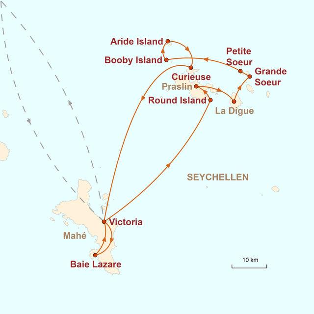 Reiseroute unserer Seychellen Reise Segelcruise durch zauberhafte Inselwelten