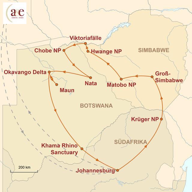 Reiseroute unserer Simbabwe Botswana Reise Tierparadies mit tosenden Wasserfällen