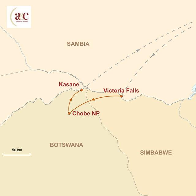 Reiseroute unserer Simbabwe Reise Grandiose Wasserfälle