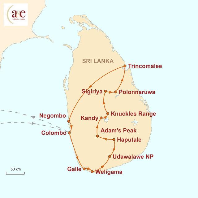 Reiseroute unserer Sri Lanka Reise Abenteuer Freiheit