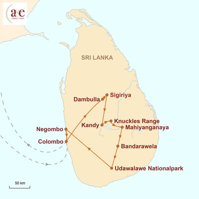 Reiseroute unserer Sri Lanka Reise Sri Lanka – Aktiv entdecken