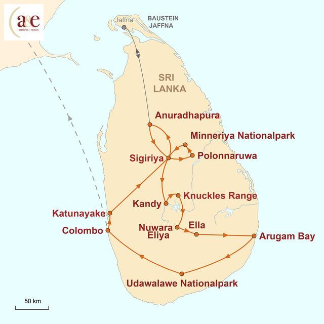 Reiseroute unserer Sri Lanka Reise Sri Lanka – Intensiv erleben