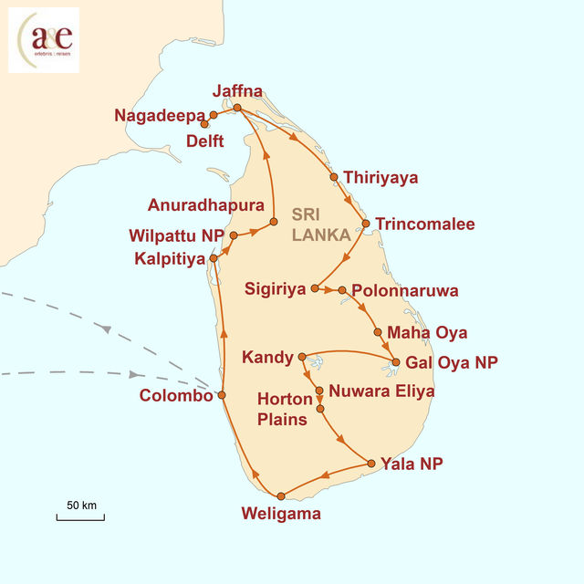 Reiseroute unserer Sri Lanka Reise Kleine Tropeninsel, großes Abenteuer