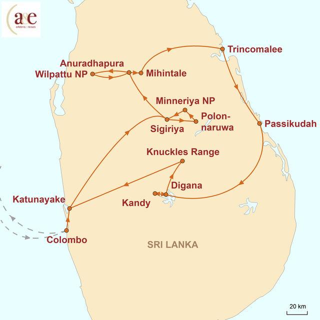 Reiseroute unserer Sri Lanka Reise Summertimes auf der Tropeninsel
