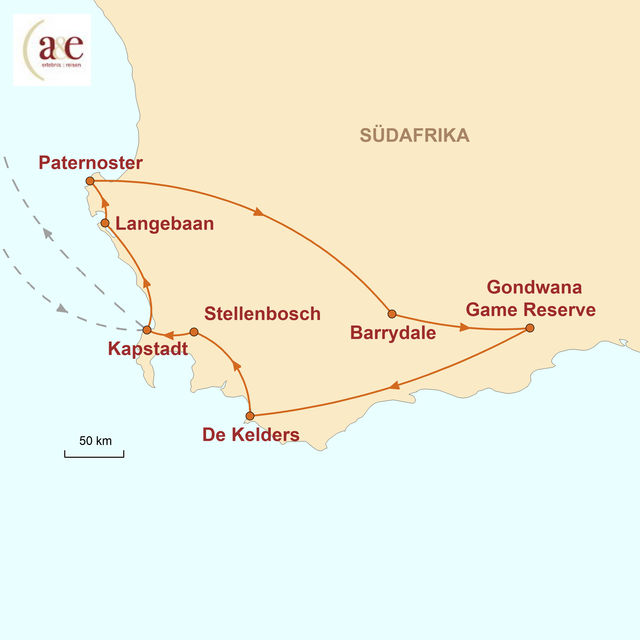Reiseroute unserer Südafrika Reise Die Kap Region überraschend anders