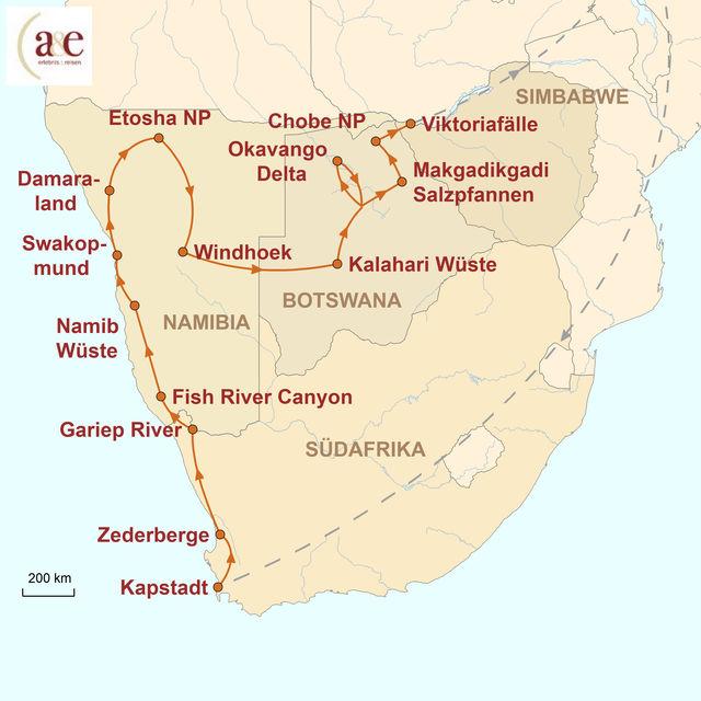 Reiseroute unserer Namibia Botswana Reise Safari durch vier Länder – Glanzlichter des Südlichen Afrikas