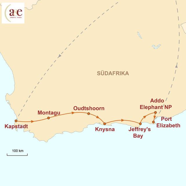 Reiseroute unserer Südafrika Reise Kapstadt & Garden Route