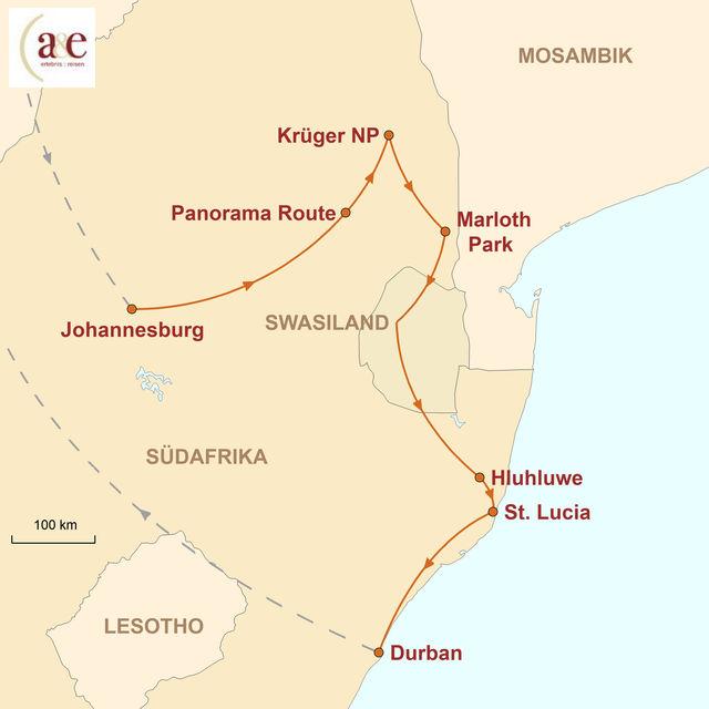 Reiseroute unserer Südafrika Reise Krüger & KwaZulu-Natal