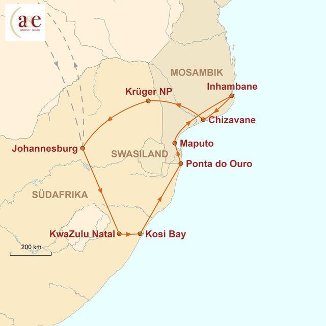 Reiseroute unserer Südafrika Mosambik Reise Südafrika & Mosambik – Afrika hautnah!