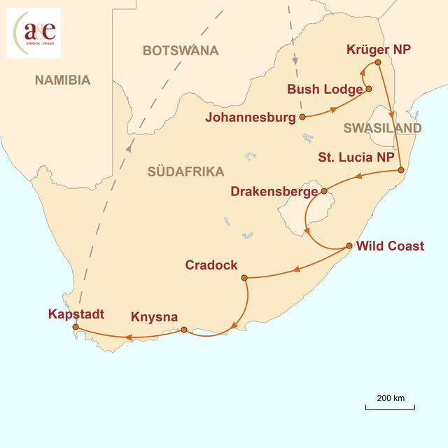 Reiseroute unserer Südafrika Reise Overland Explorer