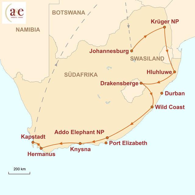 Reiseroute unserer Südafrika Reise Regenbogenreise