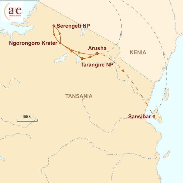 Reiseroute unserer Tansania Reise Safari und Sansibar