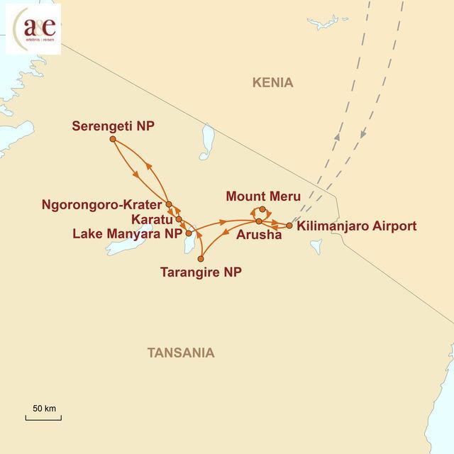 Reiseroute unserer Tansania Reise Safari-Erlebnis im Norden