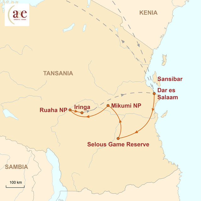 Reiseroute unserer Tansania Reise Wilder Süden