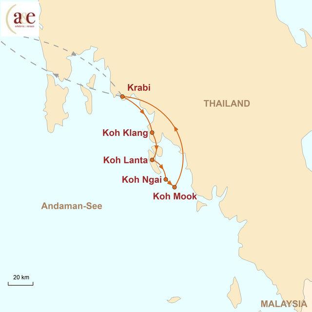 Reiseroute unserer Thailand Reise Inselhopping in der Andamanensee