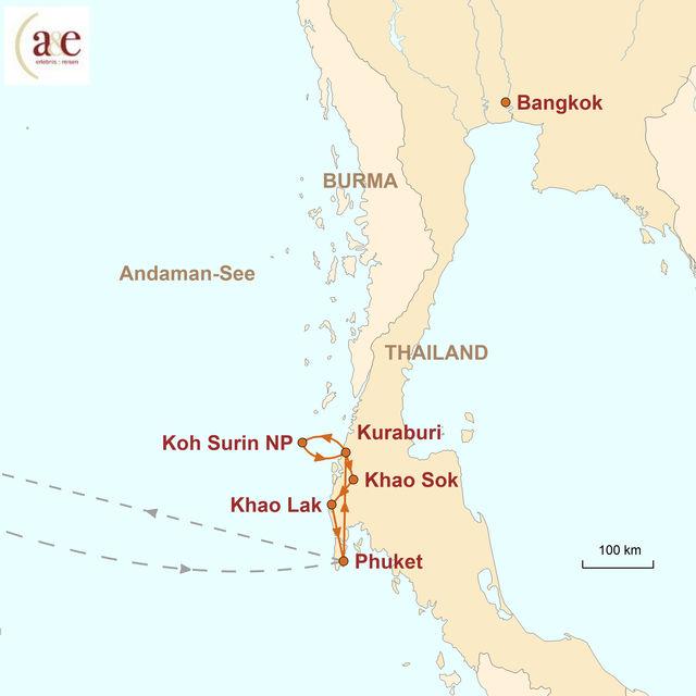 Reiseroute unserer Thailand Reise Zu Gast im Süden: Nachhaltig & Relaxed