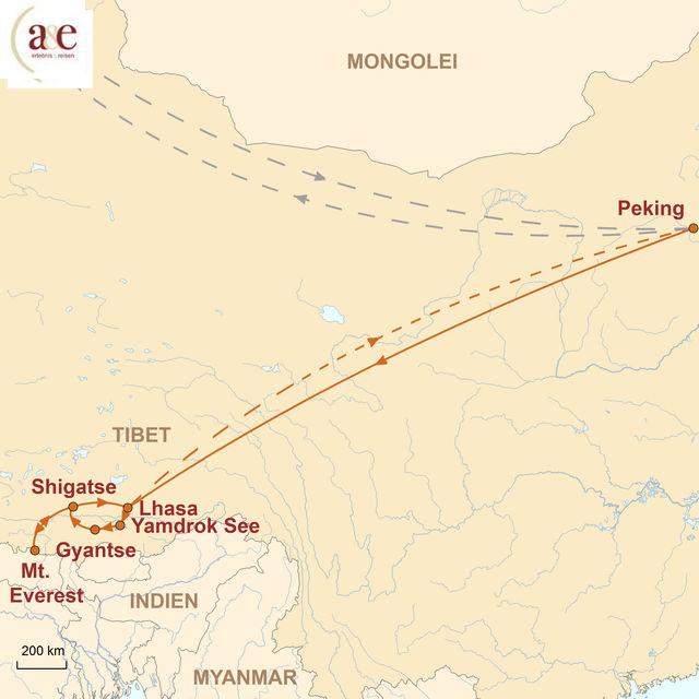 Reiseroute unserer Tibet Reise Auf den Spuren berühmter Bergsteiger