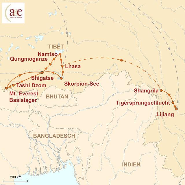 Reiseroute unserer Tibet Reise Kultur & Wandern