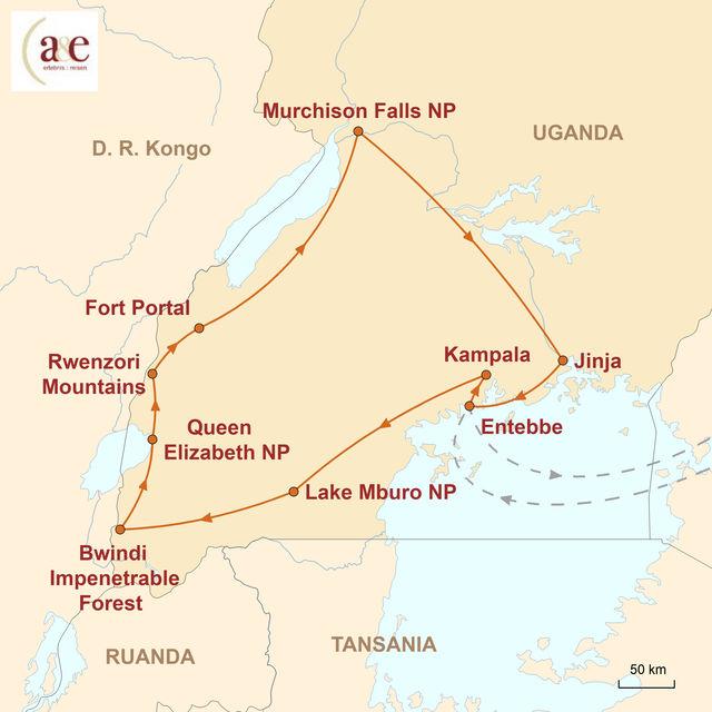 Reiseroute unserer Uganda Rundreise Begegnungen mit den Berggorillas