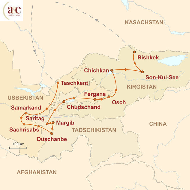 Reiseroute unserer Usbekistan Tadschikistan Kirgistan Reise Abenteuer Zentralasien