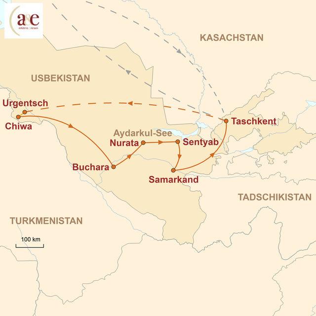Reiseroute unserer Usbekistan Reise Aktiv zu Land & Leuten