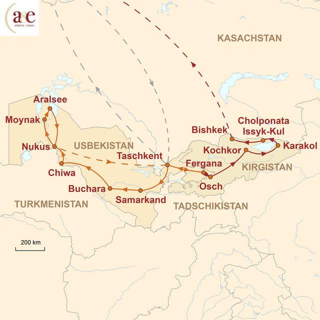 Reiseroute unserer Usbekistan Kirgistan Reise Märchenhaftes Zentralasien