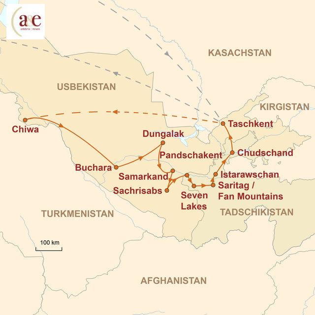Reiseroute unserer Usbekistan Tadschikistan Reise Moscheen, Minarette & Bergwelten