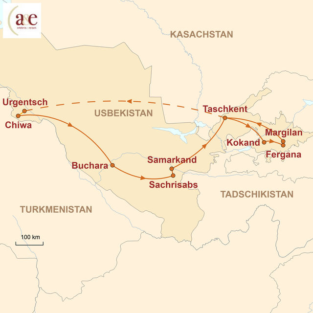 Reiseroute unserer Usbekistan Reise Zauberhafte Seidenstraße