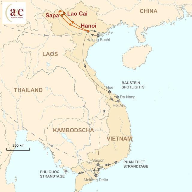 Reiseroute unserer Vietnam Reise Abenteuer Sapa