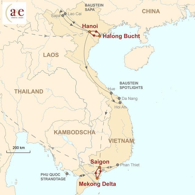 Reiseroute unserer Vietnam Reise Private Kreuzfahrten: Halong Bucht & Mekong Delta