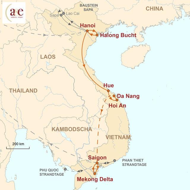 Reiseroute unserer Vietnam Reise Spotlights