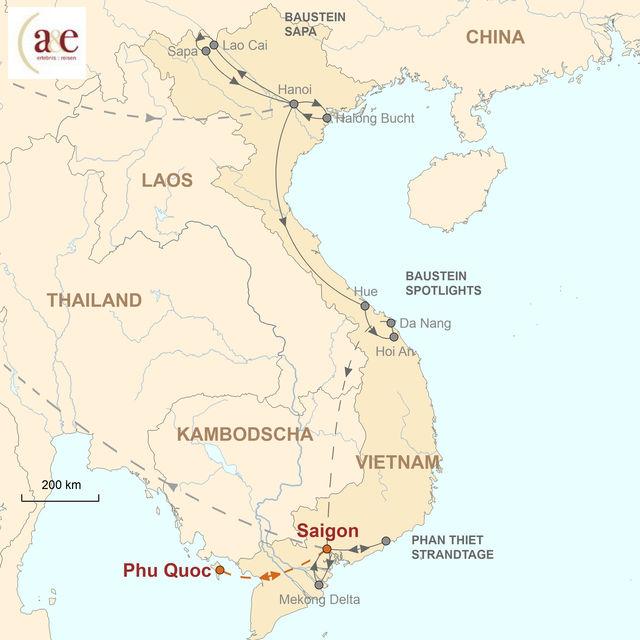 Reiseroute unserer Vietnam Reise Strandtage auf der Insel Phu Quoc